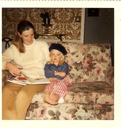 Deirdre aged 4 reading with her mum